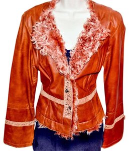 Cache Lambskin Fur Embroidered Exclusive Limited Edition Leather Jacket