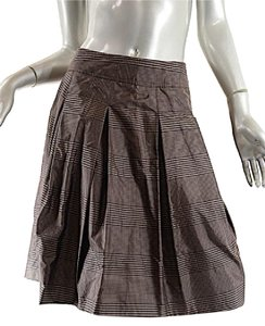 Gunex Cucinelli Silk Satin Box Pleat Skirt Olive Bronze/Black
