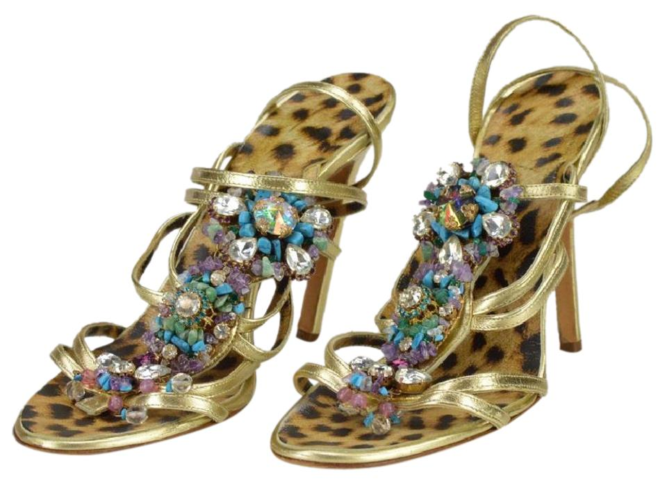 31ff1e556 Roberto Cavalli Jeweled Metallic Leather Italian gold Sandals Image 0 ...