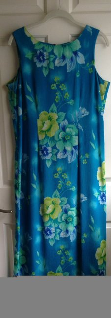 Aqua Floral Print Maxi Dress by MSB Sport