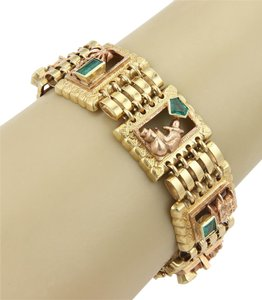 Modern Vintage Estate Multi Themed 18k Gold & Emerald Wide Bracelet