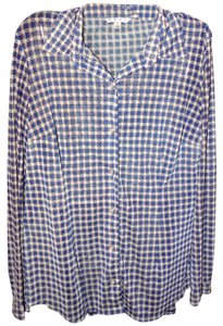 CAbi Print Soft Luxury Stretchy Plaid Top Blue & Cream