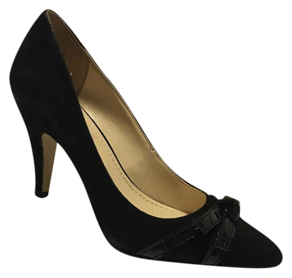 Anne Klein Black Suede Leather and Tie Covered Heels Patent Leather Tie and Pumps 32a0aa