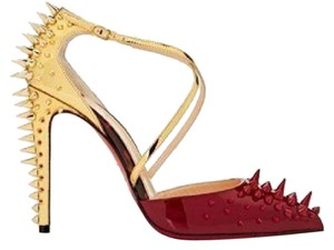 Christian Louboutin Heels Studded Spike Patent Red/Gold Sandals