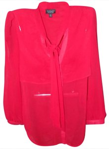 Topshop Soft Luxury Silk Classic Flowy Top Red