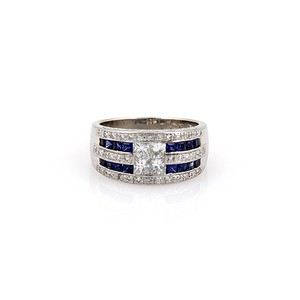 Modern Vintage ESTATE PLATINUM INVISIBLE SET DIAMOND AND SAPPHIRE 10MM BAND