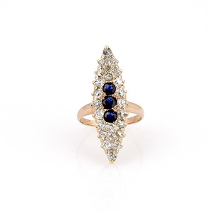 Unique Vintage VICTORIAN 14K YELLOW GOLD 1.35ct OMC DIAMOND & SAPPHIRE MARQUEE RING