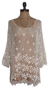 BREEZE EVER Sheer Lace Crochet Floral Top ivory