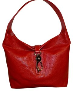 Dooney & Bourke Very Large True Pebbled Leather Clip Lock Shoulder Bag