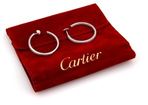 Cartier CARTIER 18K WHITE GOLD 1.60CT INSIDE OUT DIAMOND HOOP EARRINGS