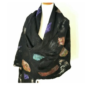 Other Felted Silk Mosaic Splashes on Black Merino Wool
