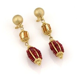 Modern Vintage ESTATE 14K YELLOW GOLD ITALIAN RUBY & SAPPHIRE DANGLE EARRINGS