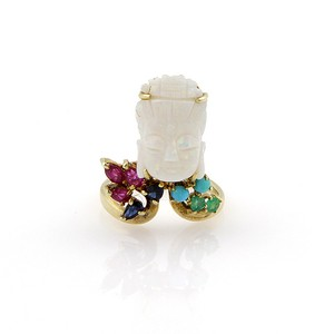 Modern Vintage ESTATE 14K YELLOW GOLD CARVED OPAL & GEM RING
