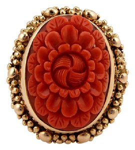 Stephen Dweck STEPHEN DWECK 18K YELLOW GOLD CARVED CORAL DESIGNER RING