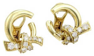 Jose Hess JOSE HESS 18K YELLOW GOLD DIAMOND KNOT DESIGNER EARRINGS