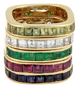 Modern Vintage ESTATE 18K YELLOW GOLD DIAMOND & MULTI COLOR GEMSTONE 5 BAND STACKABLE