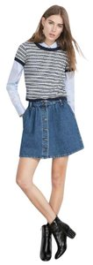 Zara Denim Pleated Jean Vintage Denim Mini Skirt BLUE