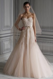 Monique Lhuillier Blush Tulle Candy Traditional Wedding Dress Size 0 (XS)