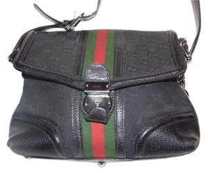 Gucci Print Wide Stripe Rare Version Has Key/charm Fobs Great For Everyday Satchel in black large G logo canvas/leather with red and green