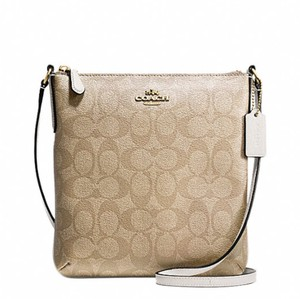 Coach Brown White Filebag Light Brown Cross Body Bag