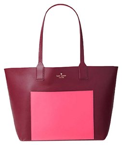 Kate Spade Down The Rabbit Hole Oops A Daisy Large Travel Tote in mulled berry/pink confetti