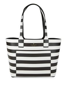 Kate Spade Down The Rabbit Hole Oops A Daisy Large Travel Tote in Black Stripe