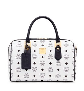 MCM Leather Satchel in White