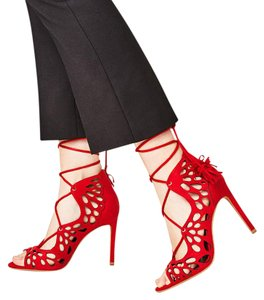 Zara Lace Up Cutwork Openwork Wraparound Red Sandals