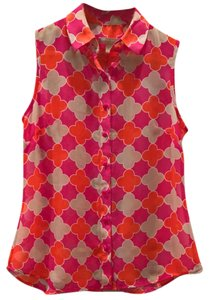 Banana Republic Top Pink red tan