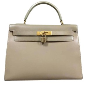 Hermès Kelly 32 Boxcalf Satchel in Beige