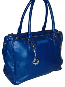 DKNY Leather Classy Large Satchel in Blue