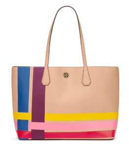 Tory Burch Retro Striped Colorful Leather Cool Tote in Multicolor