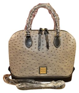 Dooney & Bourke Zip Zip Ostrich Satchel in Grey