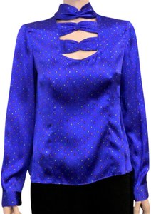 Nanette Lepore Silk Career Cutout Top Sapphire Blue