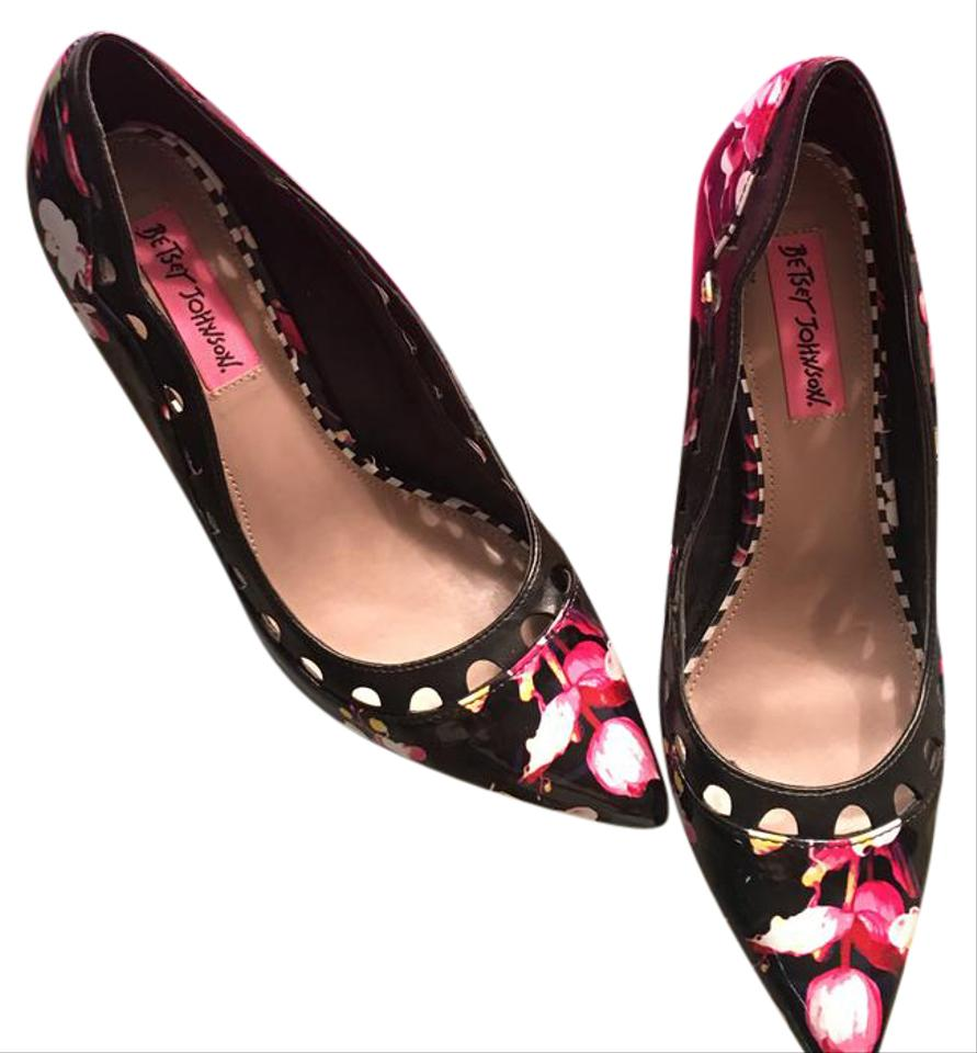 Betsey Johnson Navy With Pink White Flowers Valenese Pumps Size Us