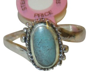 rlss 925 Sterling Silver Natural Turquoise Celtic Ring Size 8