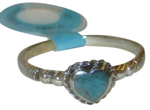rlss 925 Sterling Silver PETITE Heart Natural Turquoise Celtic Ring Size 7