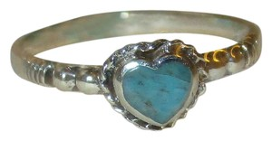 rlss 925 Sterling Silver PETITE Heart Natural Turquoise Celtic Ring Size 5