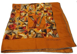 Louis Vuitton Brown, orange multicolor silk Louis Vuitton watercolor LV print scarf