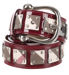 Burberry Red, beige multicolor Exploded check Burberry studded waist belt