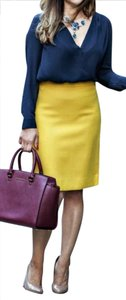 J.Crew Double Serge Wool Pencil No 2 Pencil Mustard Skirt Mustard Yellow