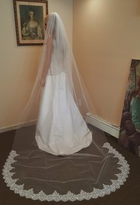 White Cathedral Bridal Veil With Sequin Lace & Comb Attached 622-1