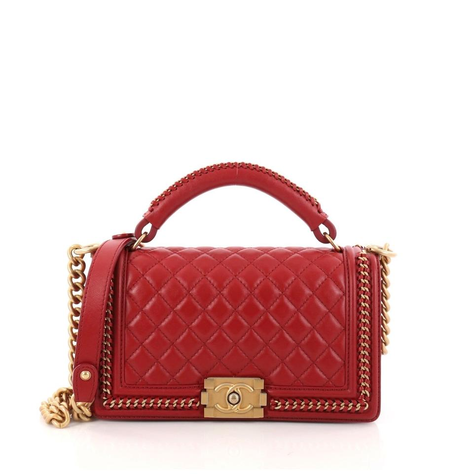 ddb81f13ed85 Chanel Boy With Handle Red Calfskin Cross Body Bag - Tradesy