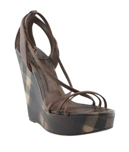 Burberry Leather Nova Check Brown Wedges