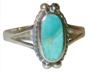 J Brand 925 Sterling Silver Oval Cut NATURAL TURQUOISE CELTIC Ring Size 8