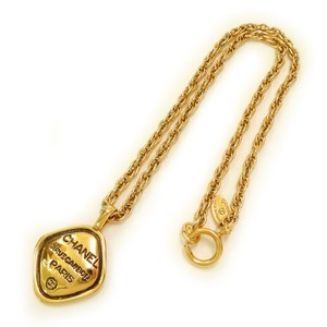 Chanel CHANEL Rue Cambon Gold Plated CC Logos Vintage Chain Charm Necklace