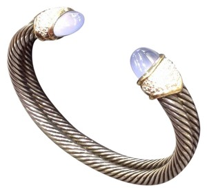 David Yurman double cable cuff diamond chalcedony cuff