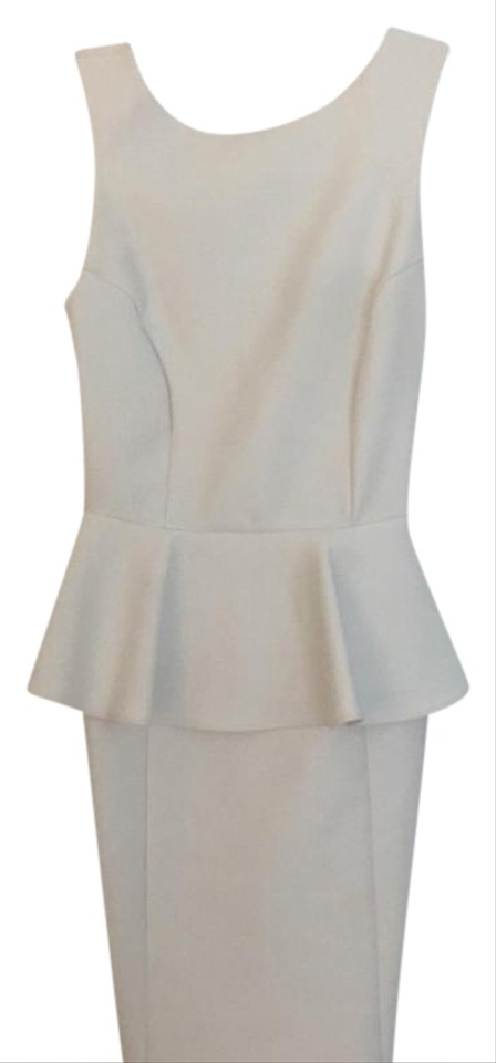 Topshop White Peplum Mid Length Night Out Dress Size 4 S Tradesy