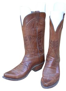 Lucchese 1883 Goat Leather Cognac Embroidered Snip-toe Brown Cognac leather Boots
