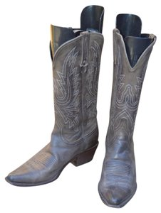 Charlie Horse Cowboy Snip-toe Embroidered All-leather charcoal leather Boots